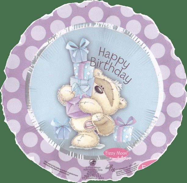 Шар (46 см) Круг, С Днем рождения (мишка с подарками), Розовый.