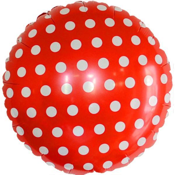 Шар (46 см) Круг, Точки, Красный.