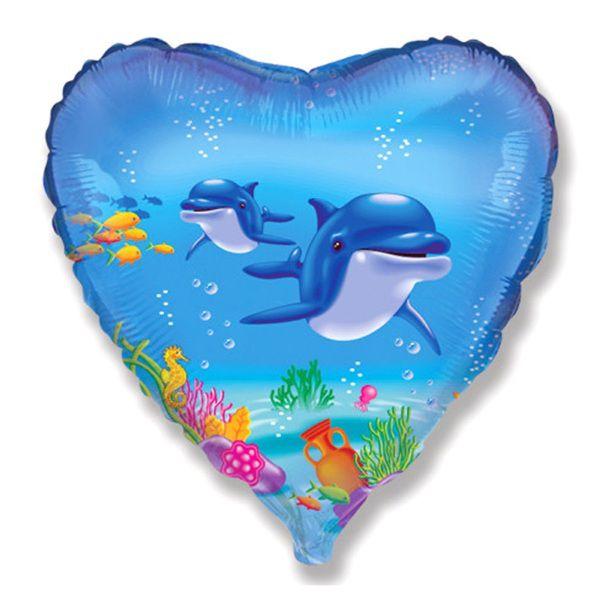 Шар (46 см) Сердце, Дельфины.