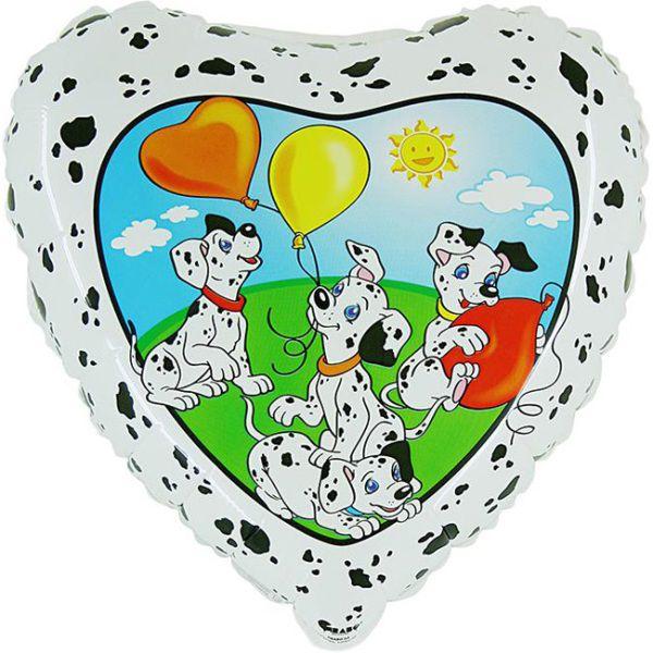 Шар (46 см) Сердце, HB Далматины с шариками.
