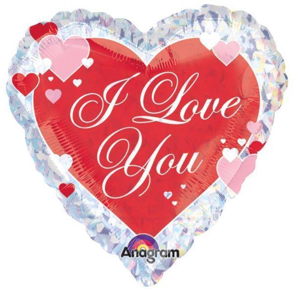 Шар (46 см) Сердце, ILY Салют сердец.