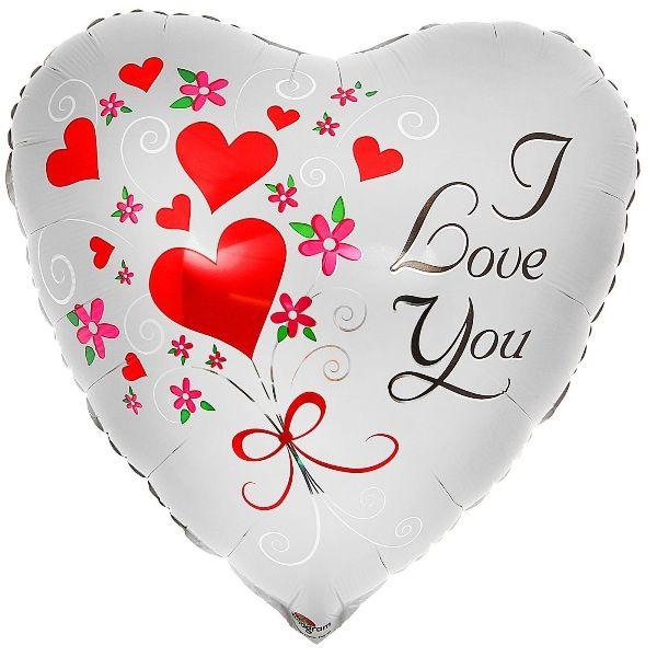 Шар (46 см) Сердце, ILY Сердца и цветы.