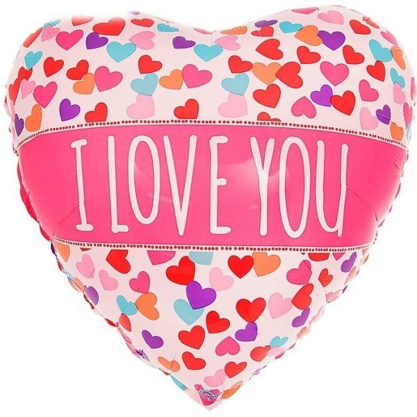 Шар (46 см) Сердце, ILY Сердечки конфетти.