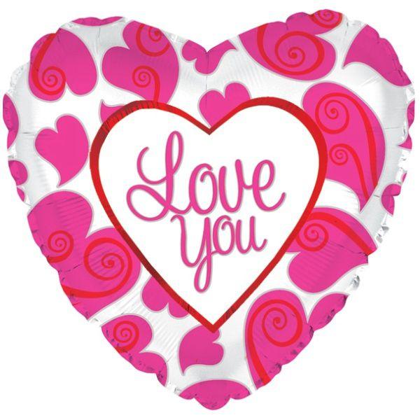 Шар (46 см) Сердце, Я люблю тебя (неоновые сердца), Белый.