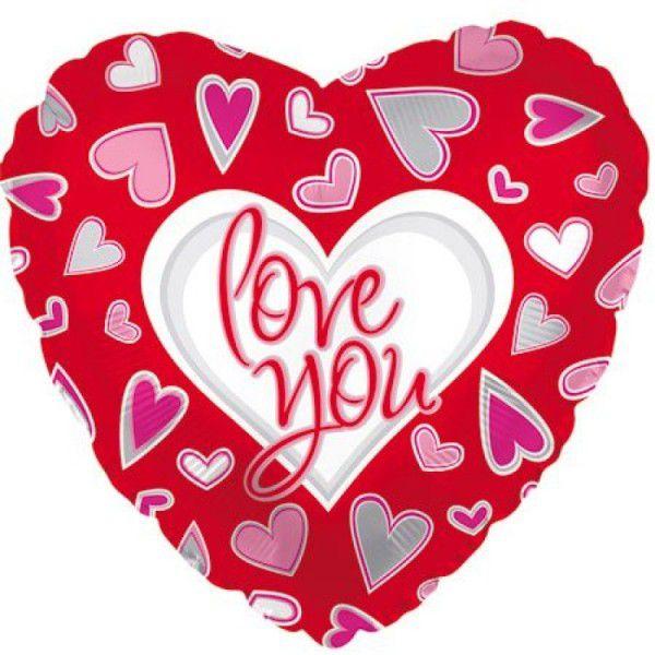 Шар (46 см) Сердце, Я люблю тебя (причудливые сердца), Красный.