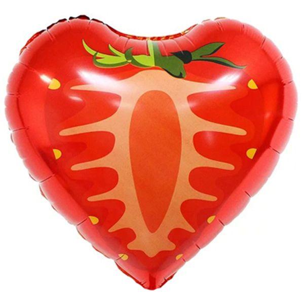 Шар (46 см) Сердце, Клубника, Красный.