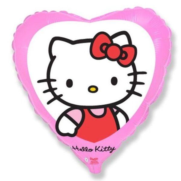 Шар (46 см) Сердце, Котенок с бантиком, Розовый.