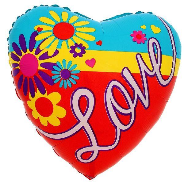 Шар (46 см) Сердце, LOVE Ромашки.