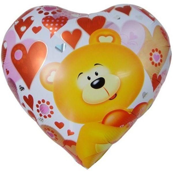 Шар (46 см) Сердце, Мишка с сердцем.