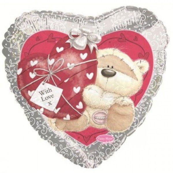 Шар (46 см) Сердце, Мишка с сердечком, Серебро.