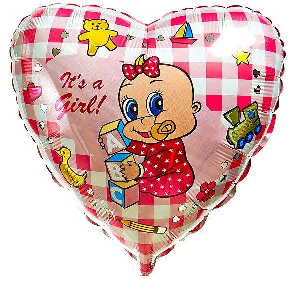 Шар (46 см) Сердце, Новорожденная девочка, Розовый