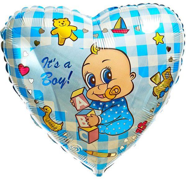 Шар (46 см) Сердце, Новорожденный мальчик, Голубой.