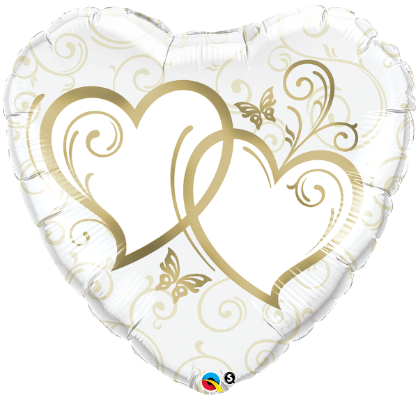 Шар (46 см) Сердце, Сердца переплетенные Gold