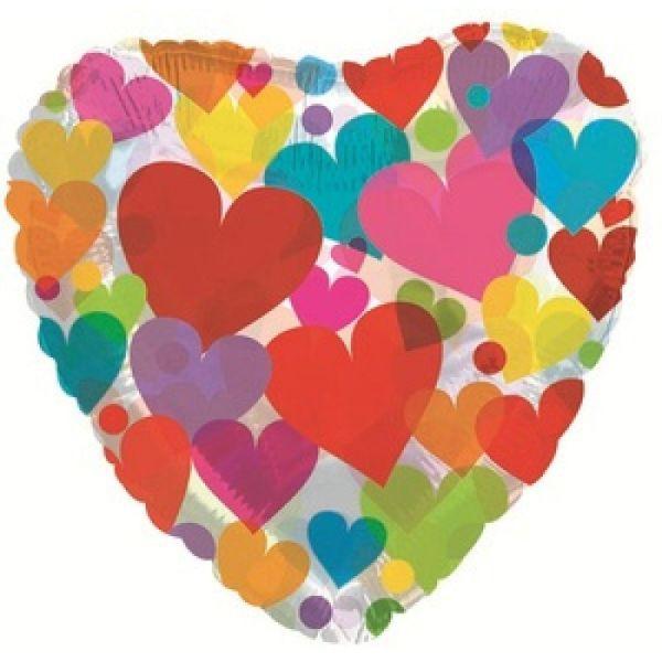 Шар (46 см) Сердце, Сердце с разноцветными сердечками, Прозрачный.