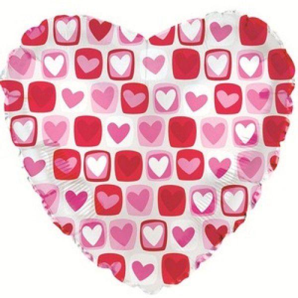 Шар (46 см) Сердце, Сердечки с квадратиками, Прозрачный.