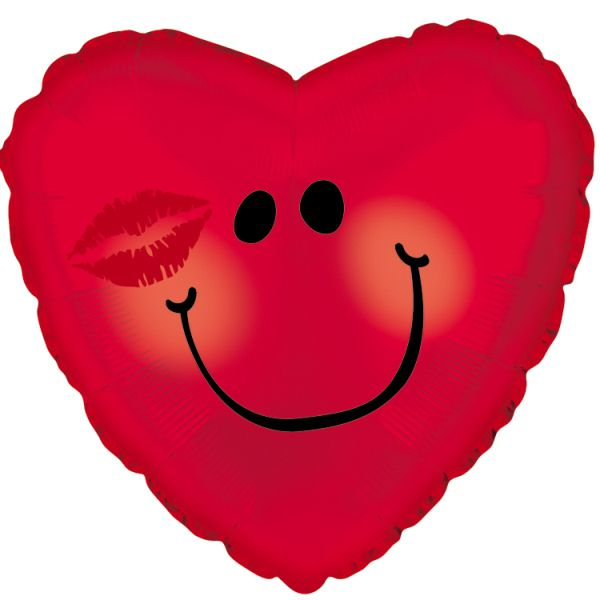Шар (46 см) Сердце, Смайл с поцелуем, Красный.