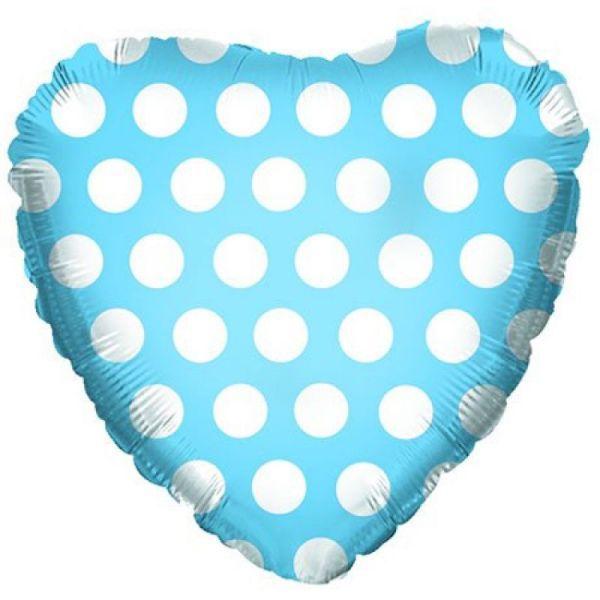 Шар (46 см) Сердце, В белый горошек, Голубой.