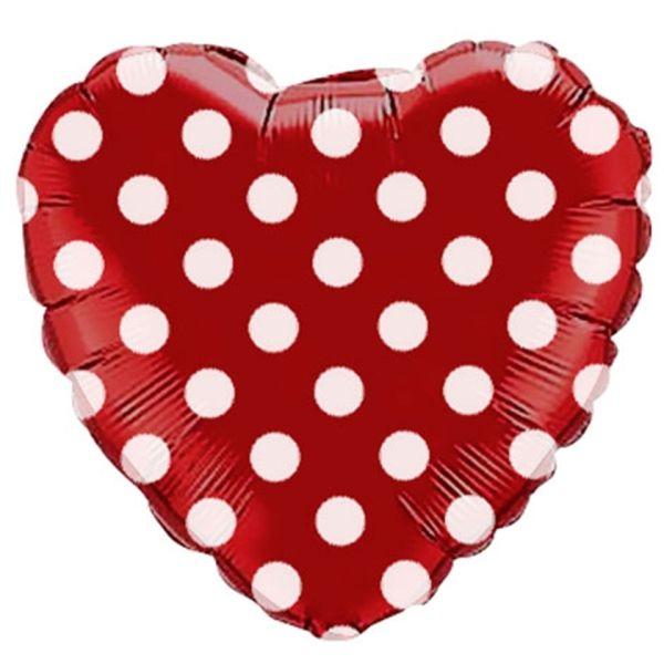 Шар (46 см) Сердце, В белый горошек, Красный.