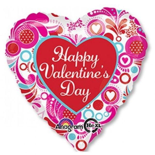 Шар (46 см) Сердце, VD Розовый и голубой.