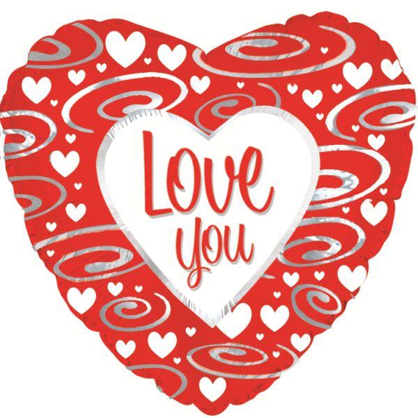 Шар (46 см) Сердце, в узорах на русском языке (эксклюзив), Красный.