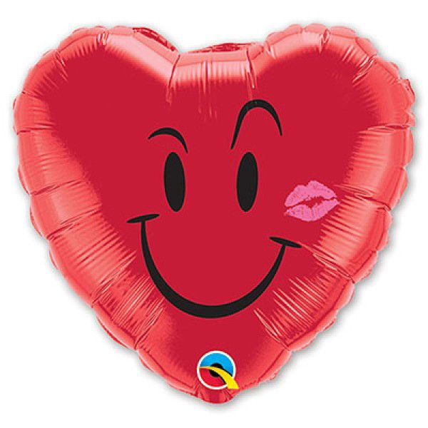 Шар (46 см), Улыбка Сердце с поцелуем.