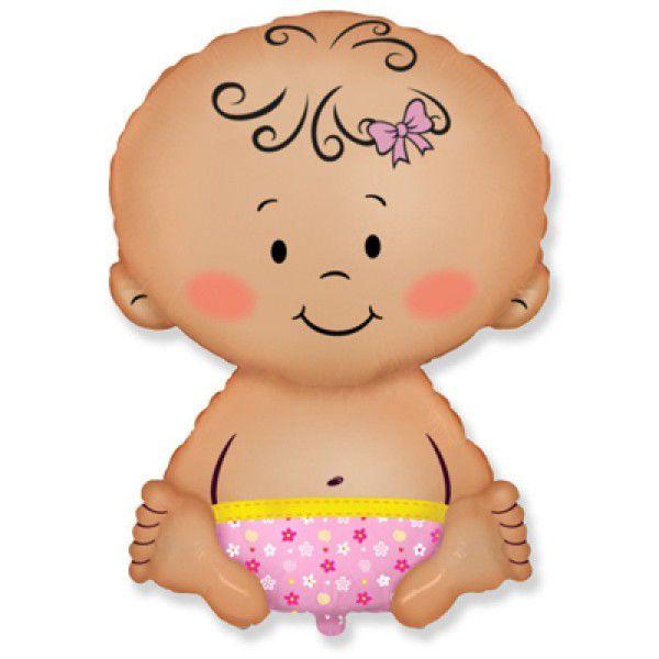 Шар (66 см) Фигура, Малышка девочка, Розовый.
