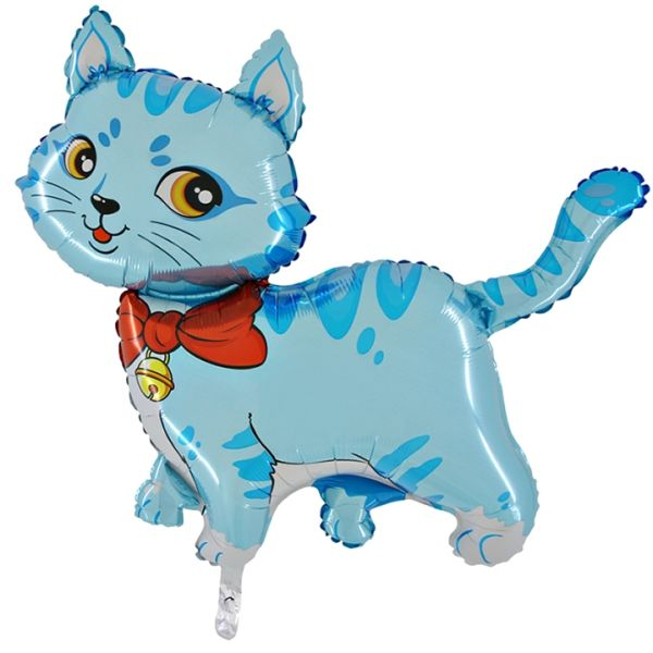 Шар (81 см) Фигура, Любимый котенок, Синий.