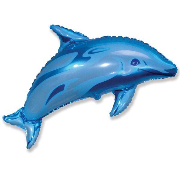 Шар (94 см) Фигура, Дельфин фигурный, Синий