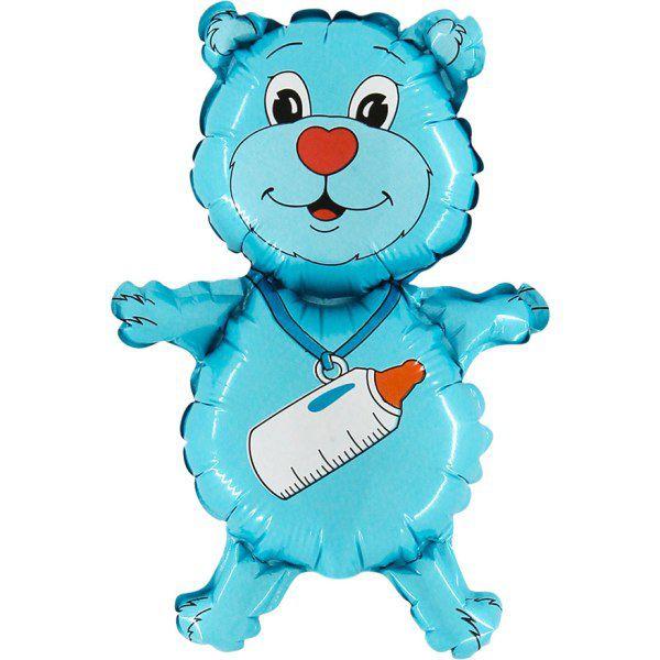 Шар (94 см) Фигура, Медвежонок-мальчик, Синий.