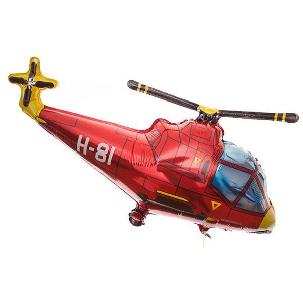 Шар (97 см) Фигура, Вертолет, Красный.