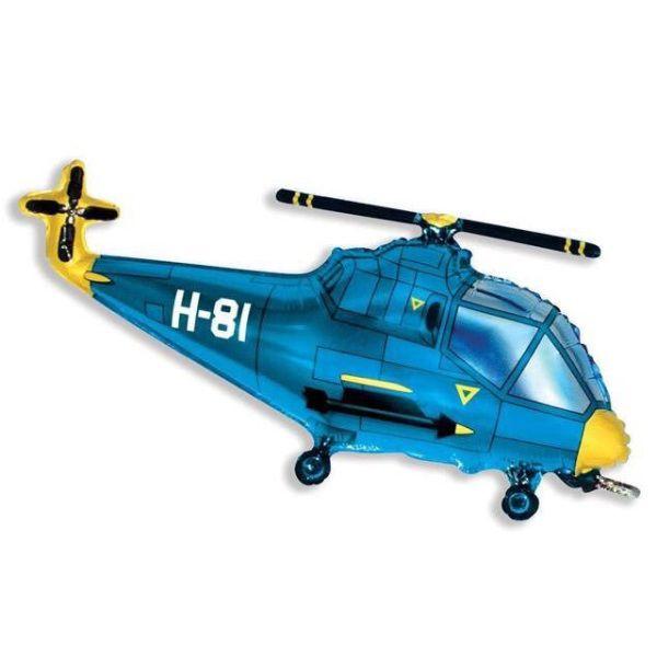 Шар (97 см) Фигура, Вертолет, Синий.