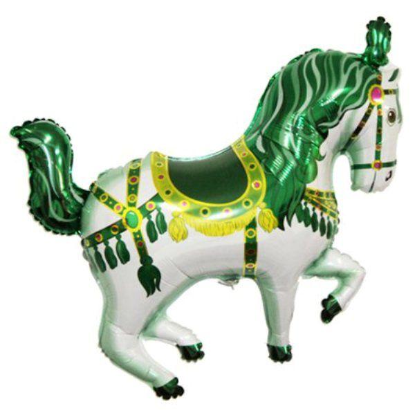Шар (99 см) Фигура, Лошадь карусельная, Зеленый.