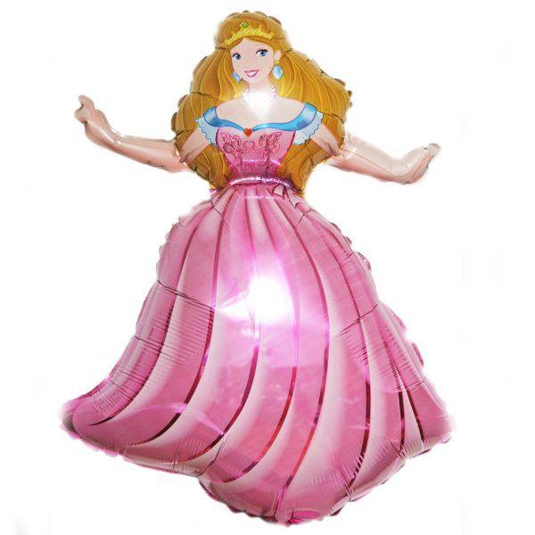 Шар (99 см) Фигура, Принцесса, Розовый.