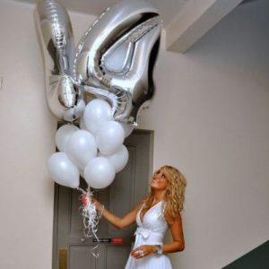 Серебряные воздушные шары-цифры