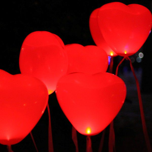 Шар (45 см) сердце с подсветкой, 1 шт. с гелием.