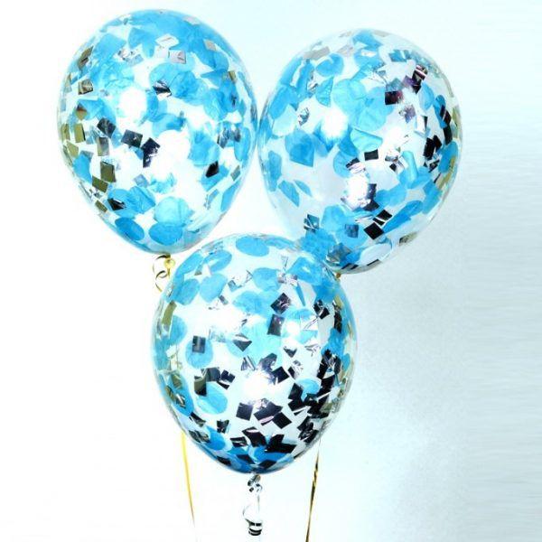 шары с синим конфетти http://onballoon.ru