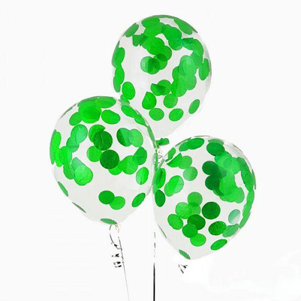 шары с зеленым конфетти http://onballoon.ru