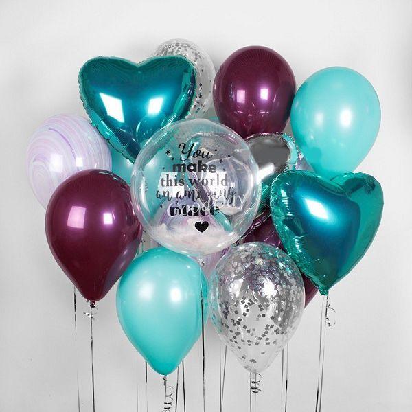 Шары с индивидуальной надписью. Букет из шаров. Шар с перьями. http://onballoon.ru