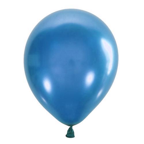 Воздушный шарик синий металлик