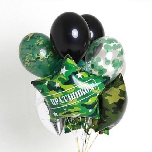 Букет из шариков камуфляж фольгированной звезды и латексных шаров