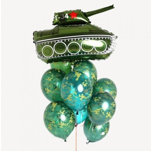 Фонтан из шариков милитари и танком на 23 февраля