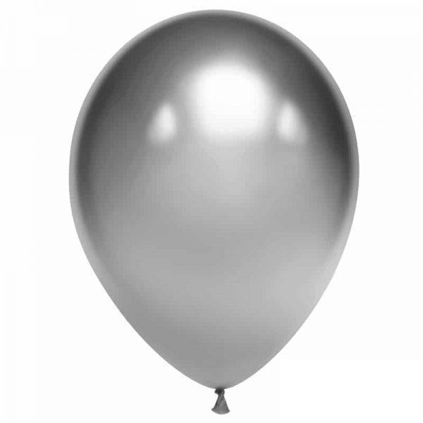 Воздушный шарик хромированный серебряный