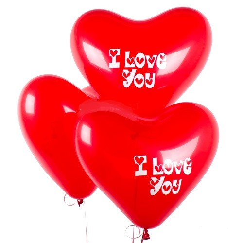 Шар сердце с рисунком красное