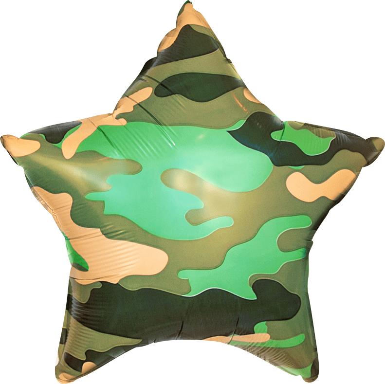 Шар звезда милитари 45 см на 23 февраля