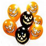 Воздушные шары с гелием оранжевые и черные на хеллоуин злая тыква